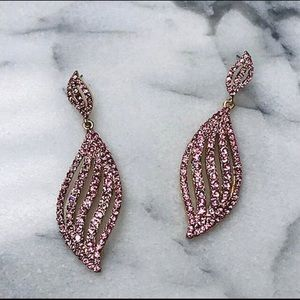 Light Pink Crystal Wave Earring, NWT